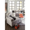Rowe My Style II Customizable Sectional Sofa with Rolled Arms, Tapered Legs and Box Style Back Cushions - Shown with contrast welting available through premium options.