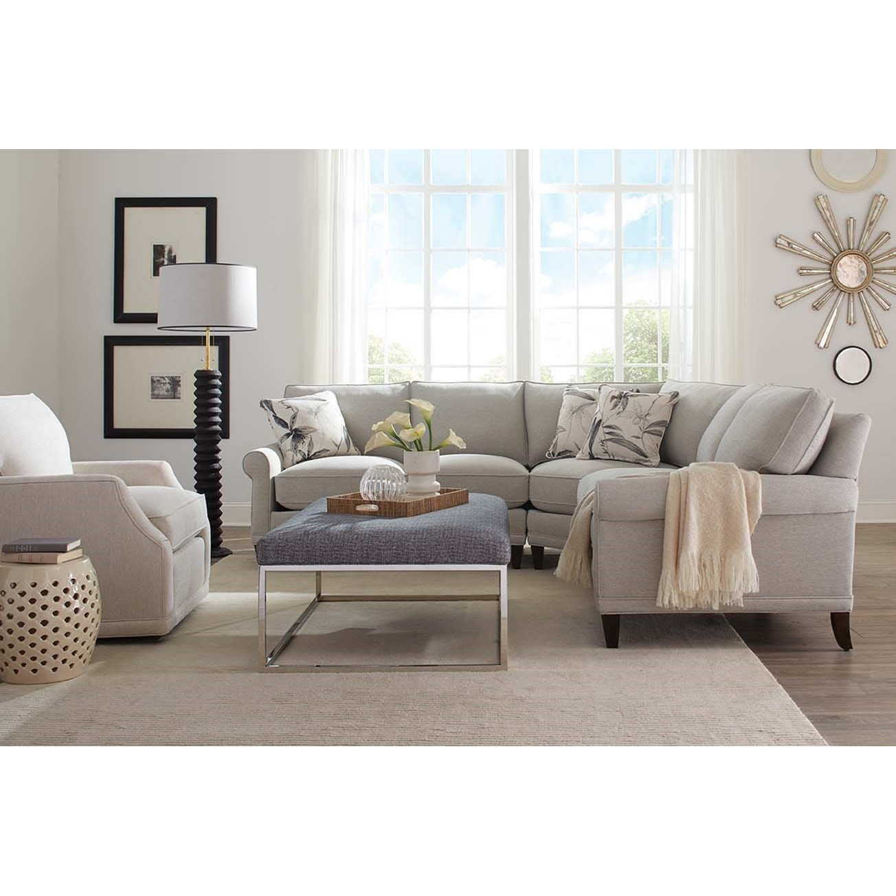 Rowe My Style Ii Customizable Sectional Sofa With Rolled