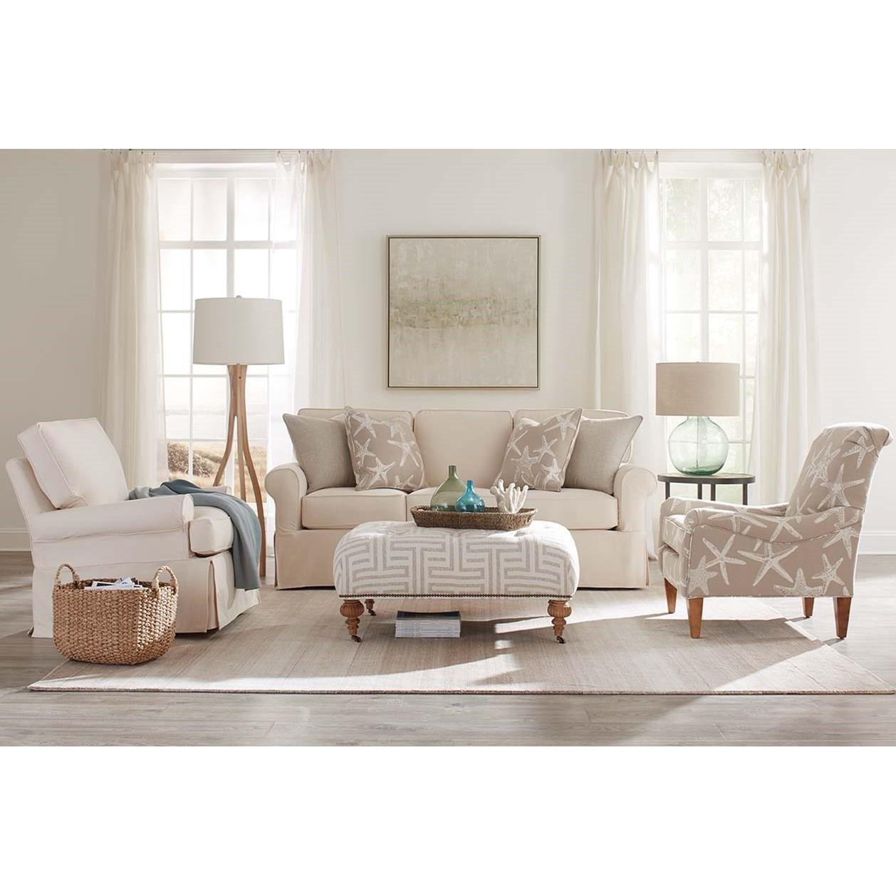 Rowe Nantucket A910 000 Casual Style Sofa With Two Accent