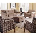 Rowe Woodrow Queen-Sized Sofa Sleeper - Shown in Room Setting with Arm Chair and Ottoman