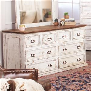 Rustic Imports Rustic Mansion Solid Pine Dresser with Eight Drawers