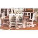 Rustic Imports MES2 - WHITE Trestle Table and 6 Chairs - Item Number: MES2MOB1+B2+SIL6MO