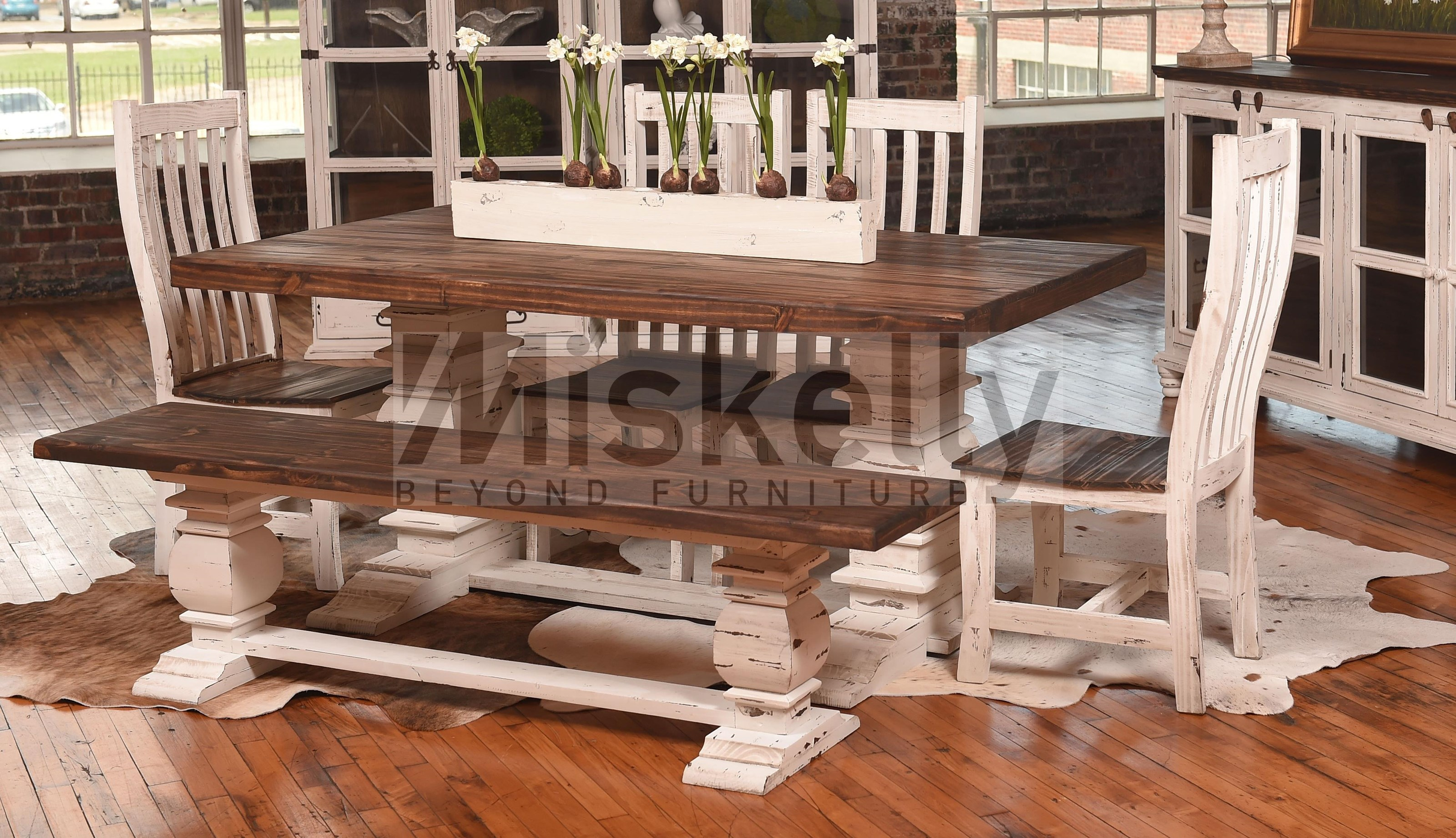 Mes2 White Solid Wood Table With 4 Chairs And Bench