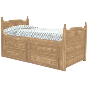 Rustic Specialists Texas Star Mesquite Twin Captain's Bed