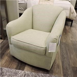 Sam Moore Lark Transitional Skirted Swivel Chair Belfort