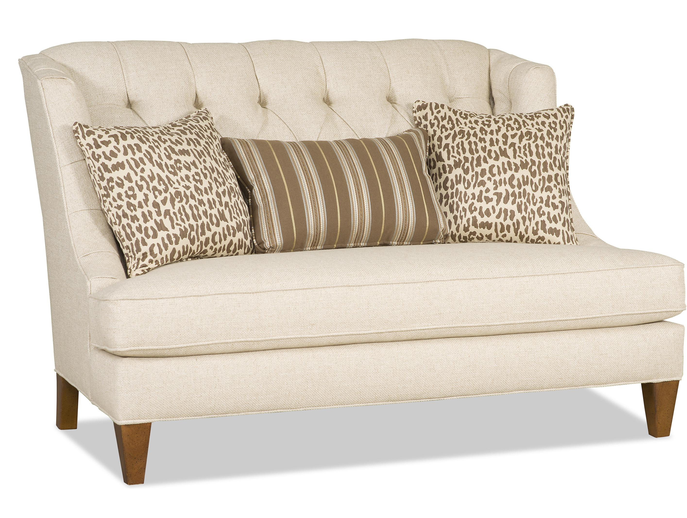 8cf055813780 Arden Wing Back Settee with Button Tufting and Exposed Wood Legs by Sam  Moore