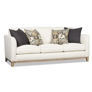 Corsica Contemporary Three Over Three Sofa with Exposed Wood Base and Flared Arms by Sam Moore