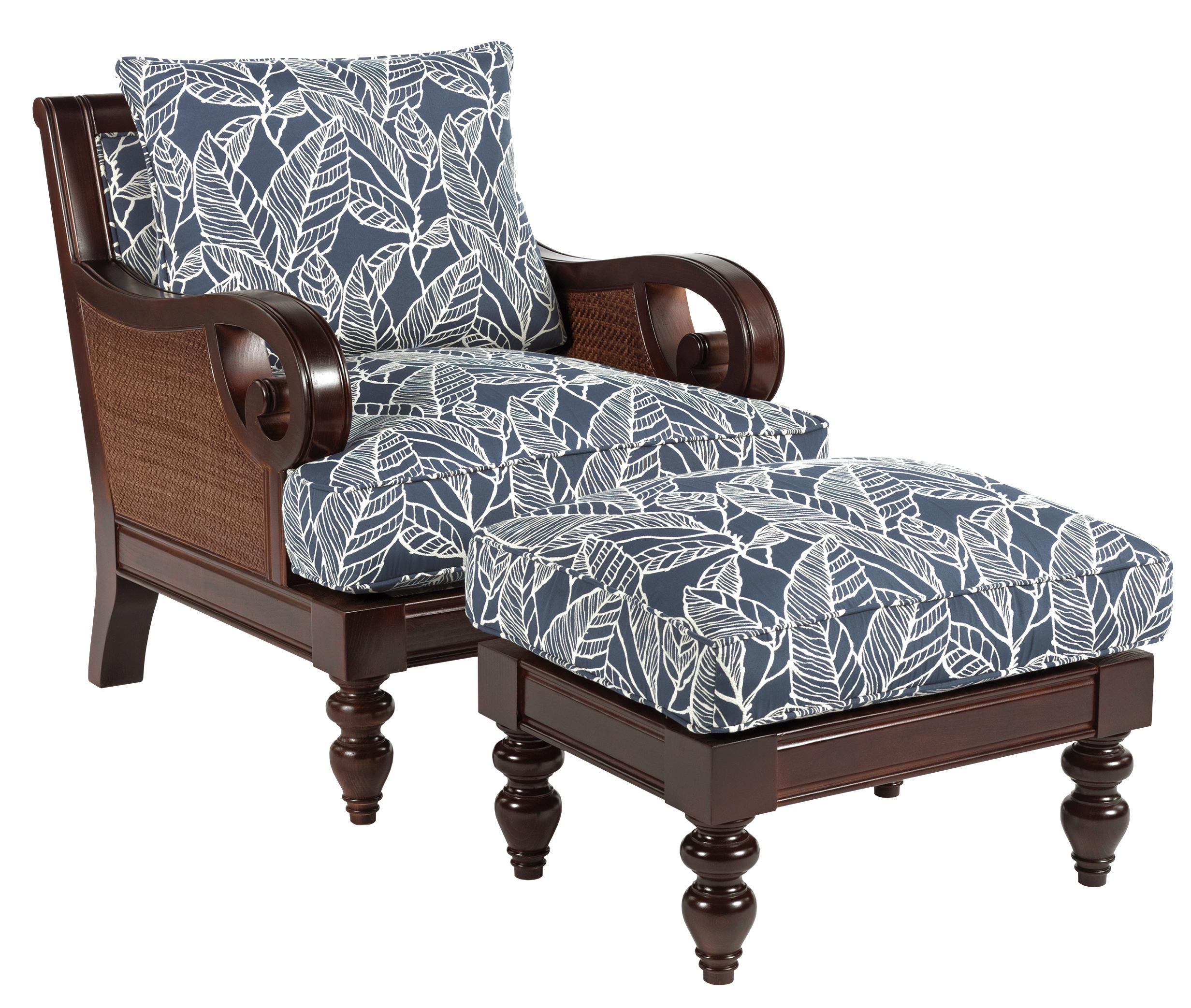 Gentil Tailynn Tropical Exposed Wood Chair And Ottoman Set By Sam Moore