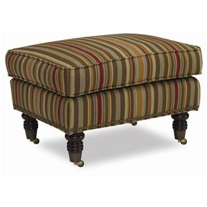 Tyler Ottoman with Decoratively Turned Wood Legs and Casters by Sam Moore