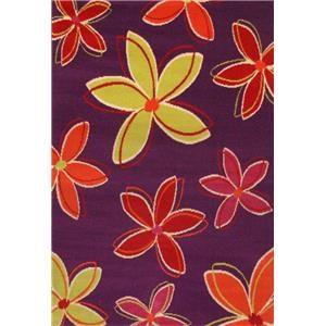 4x7 Flowers Purple Area Rug