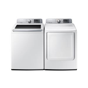 4.5 cu. ft. Capacity Top Load Washer and 7.4 cu. ft. Capacity Electric Front Load Dryer