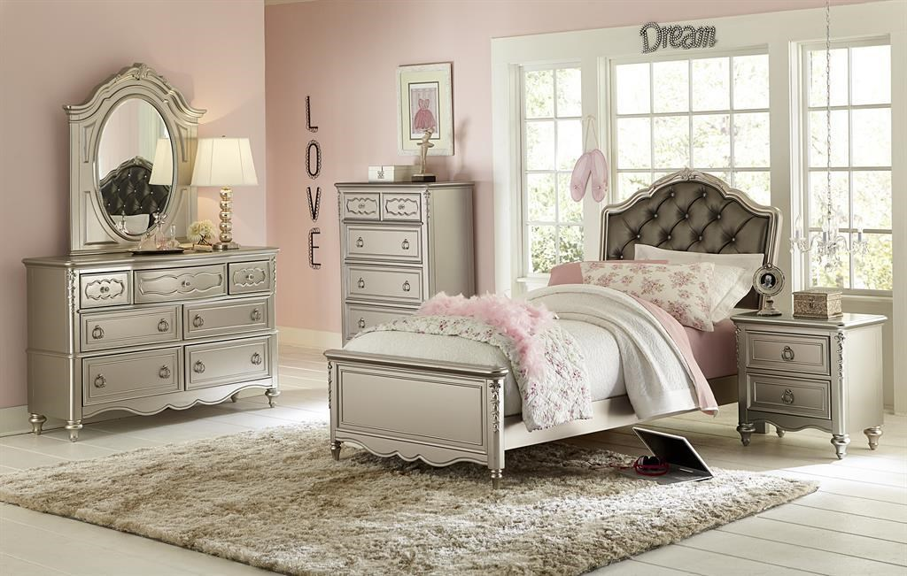 Samuel Lawrence Sterling Youth Twin Bed, Dresser, Mirror & Nightstand - Item Number: SAMU-GRP-8471-TWINSUITE
