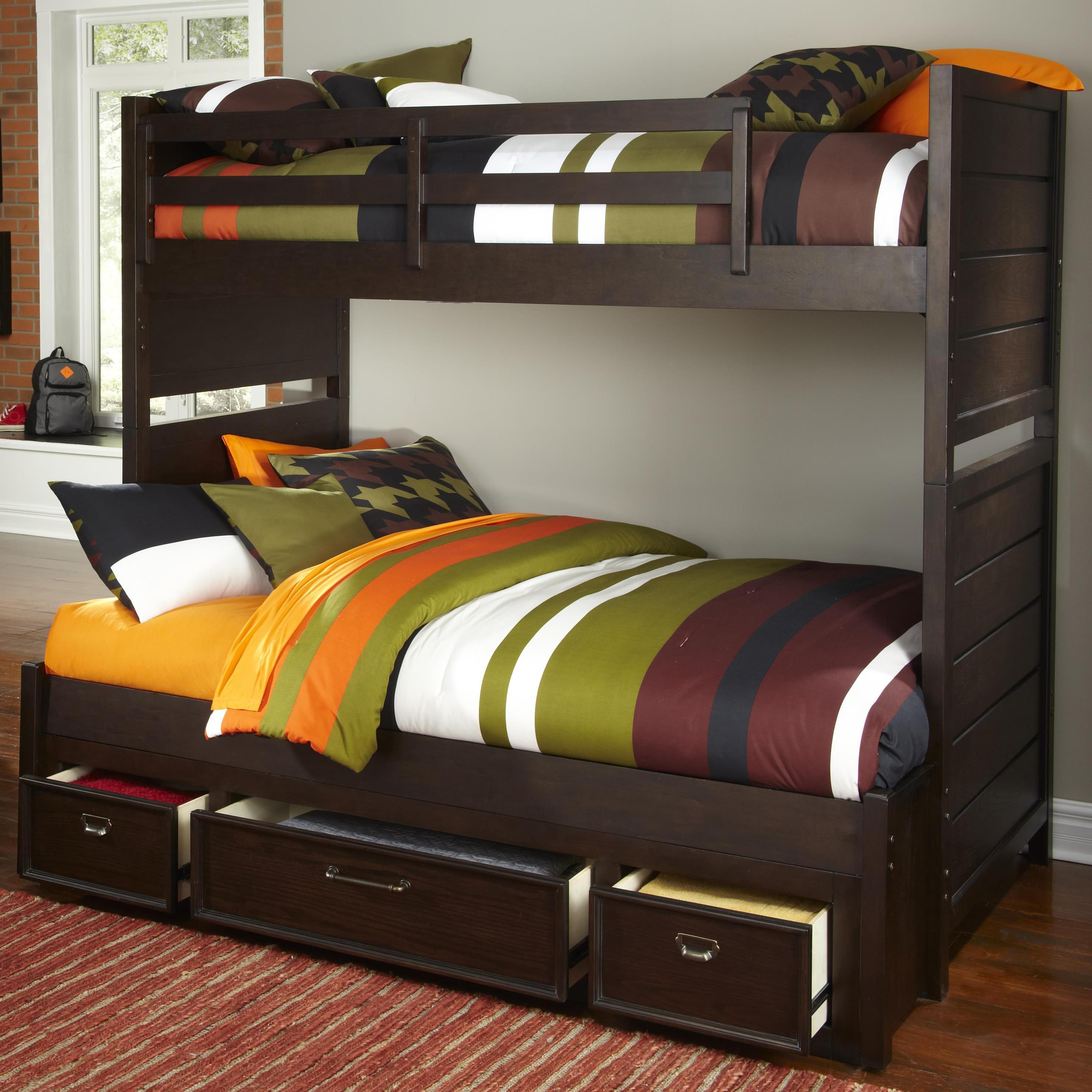 Kidz Gear Mason Twin Over Full Storage Bunk Bed - Item Number: 8872-643+730+731+732+733