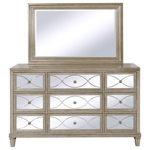 Samuel Lawrence Cut Glass Dresser and Mirror Combo