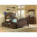 Kidz Gear Griffin Twin Low Post Bed w/ Trundle Storage - Shown with Dresser and Mirror