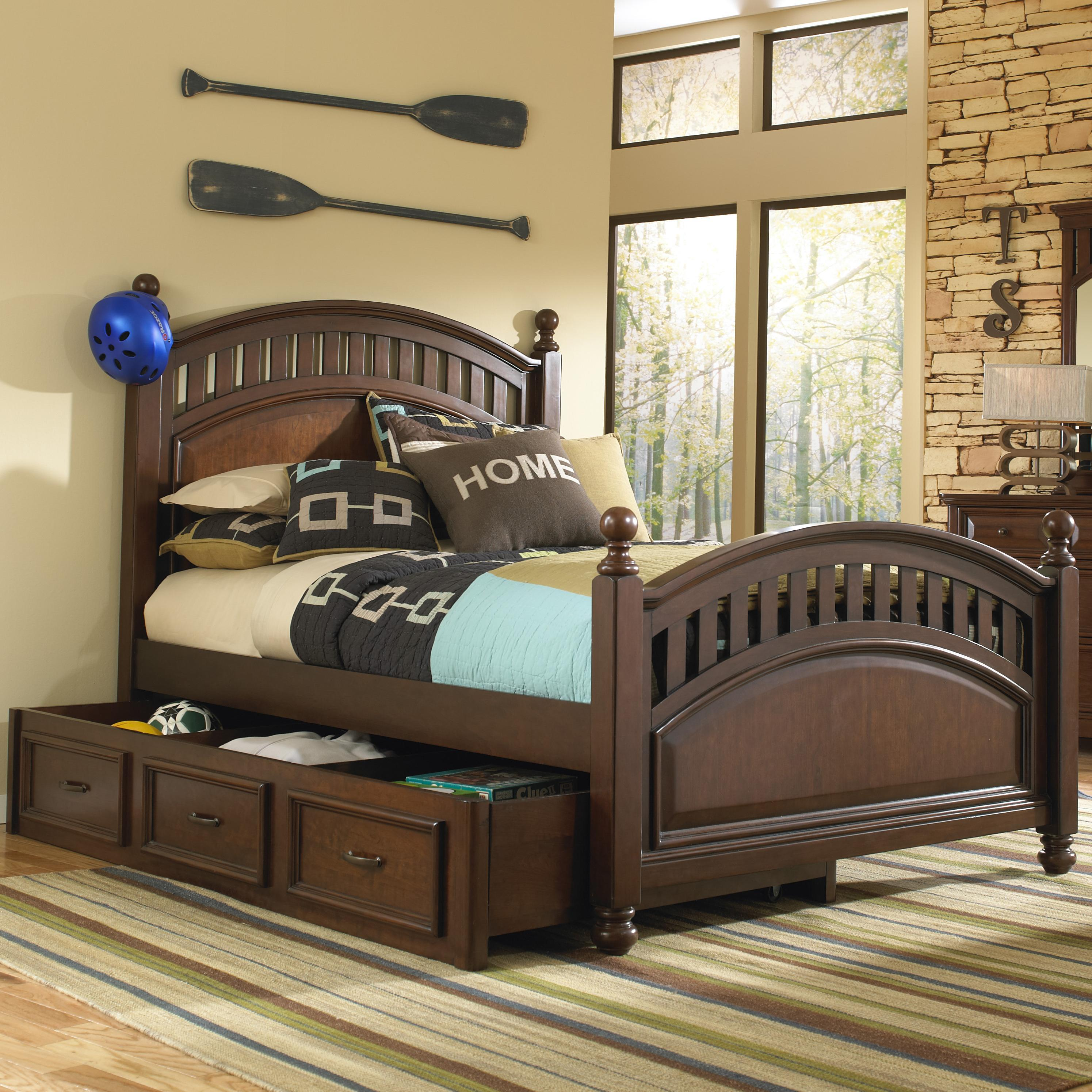 Samuel Lawrence Expedition Youth Full Low Post Bed w/ Trundle Storage - Item Number: SAMU-GRP-8468-FULLTRUNDLEBED