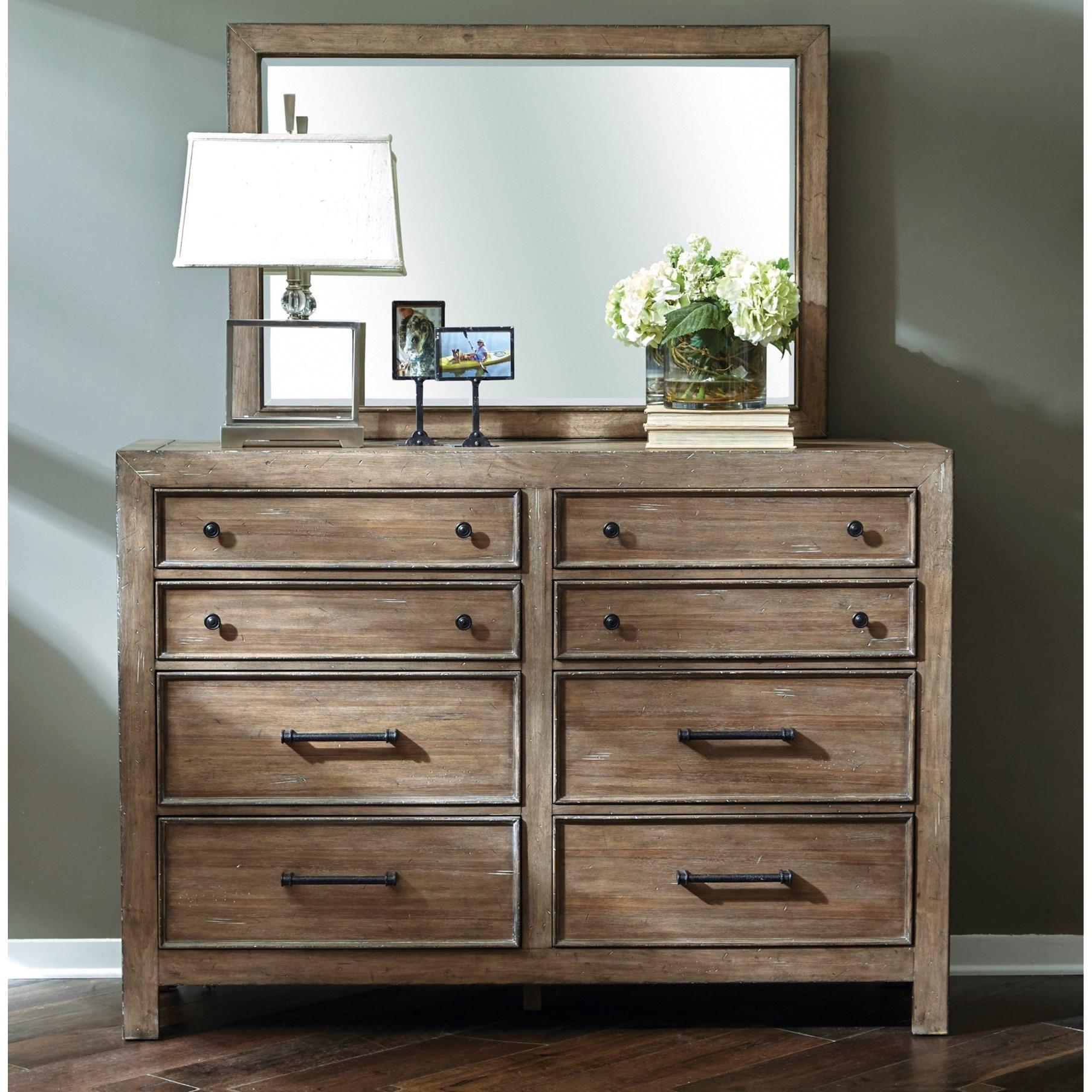 Samuel Lawrence Flatbush Bureau Beveled Mirror - Royal Furniture - Dresser Mirrors