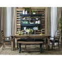 Samuel Lawrence Flatbush 6 Piece Table and Chair Set with Bench - Item Number: S084-135+2x152+2x153+180A+B