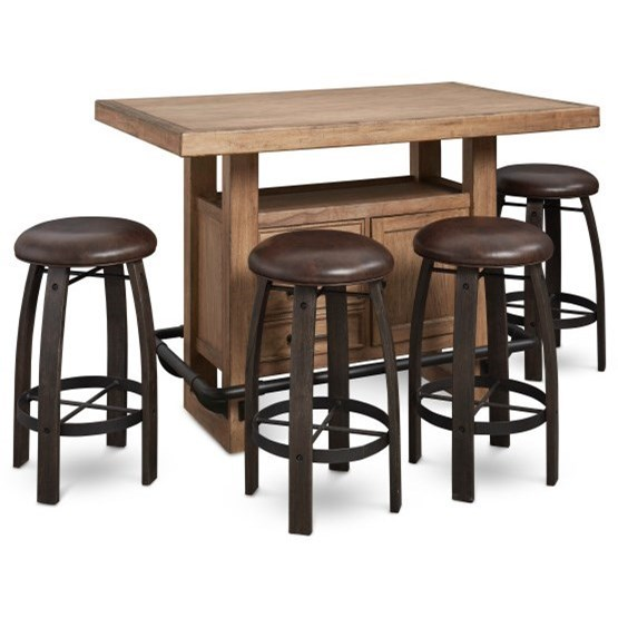 Furniture City Brewing - Blonde 5-Piece Storage Leg Bar Table Set