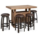 Samuel Lawrence Furniture City Brewing - Blonde 5-Piece Storage Leg Bar Table Set - Item Number: S232-160B+A+4xS233-224