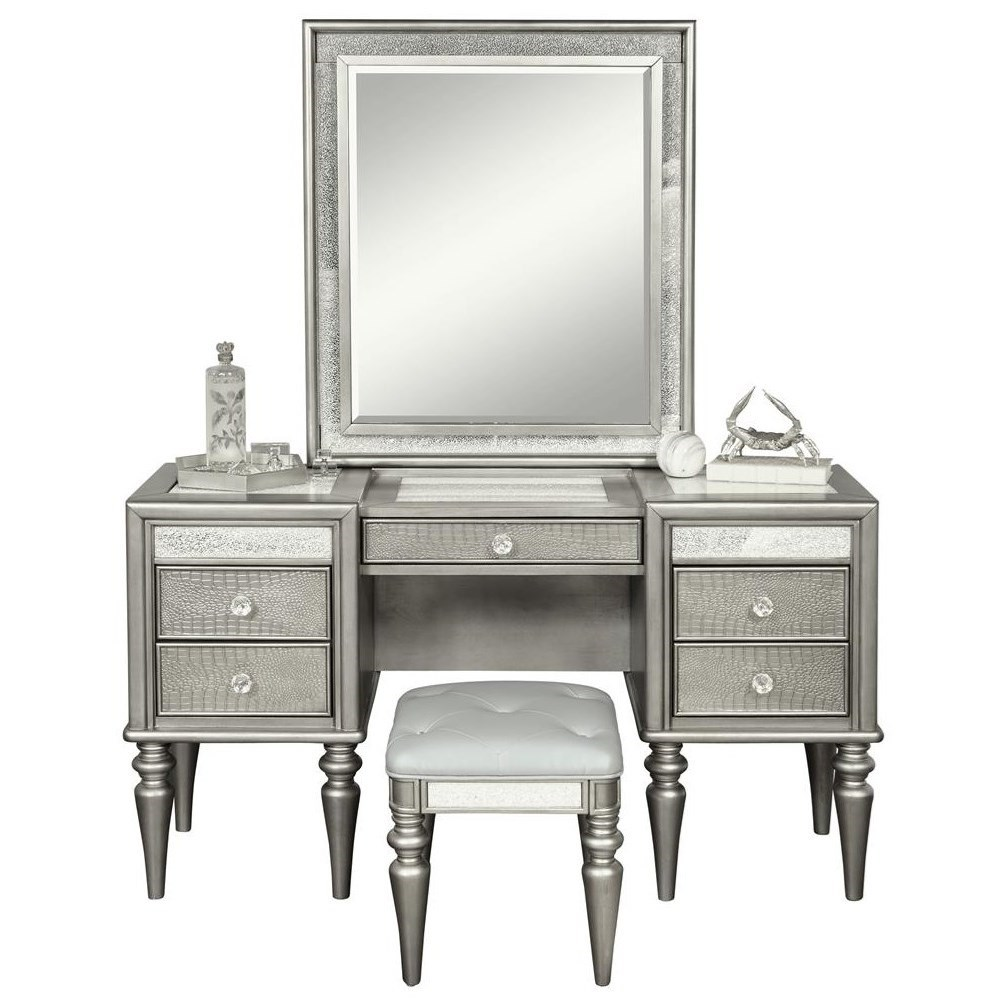 samuel lawrence posh glam 5 drawer vanity with light up mirror and stool godby home. Black Bedroom Furniture Sets. Home Design Ideas