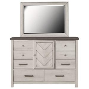 Bureau Dresser and Mirror Set