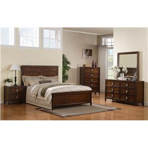 Samuel Lawrence Bayfield Full Panel Bed, Dresser, Mirror & Nightstand