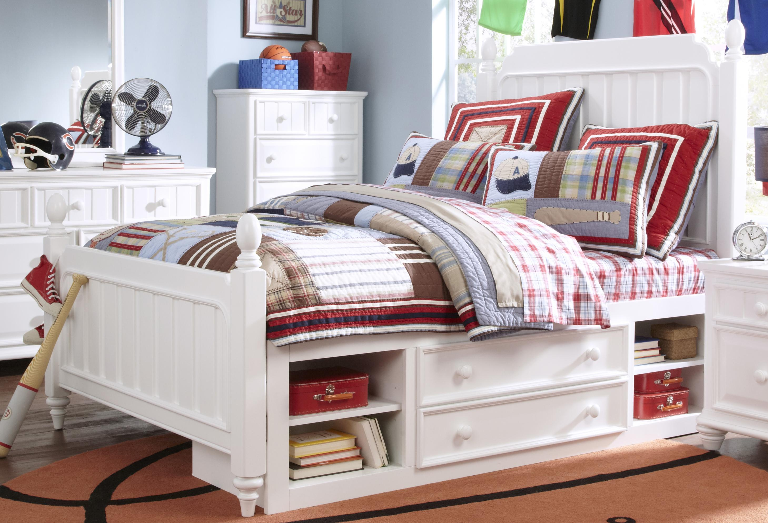 Kidz Gear Campbell Twin Bed with Underbed Storage - Item Number: 8466-630+631+401+SLATR-33+643