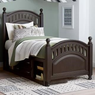 Twin Poster Bed with Underbed Storage Unit