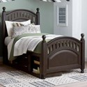 Samuel Lawrence Tundra Twin Poster Bed with Underbed Storage Unit - Item Number: S384-630+631+401+643