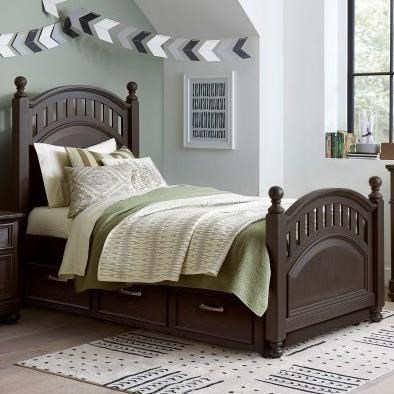 Twin Poster Bed with Trundle Storage Unit