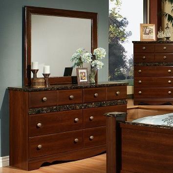 Sandberg Furniture Colina Dresser and Mirror - Item Number: 43706+10