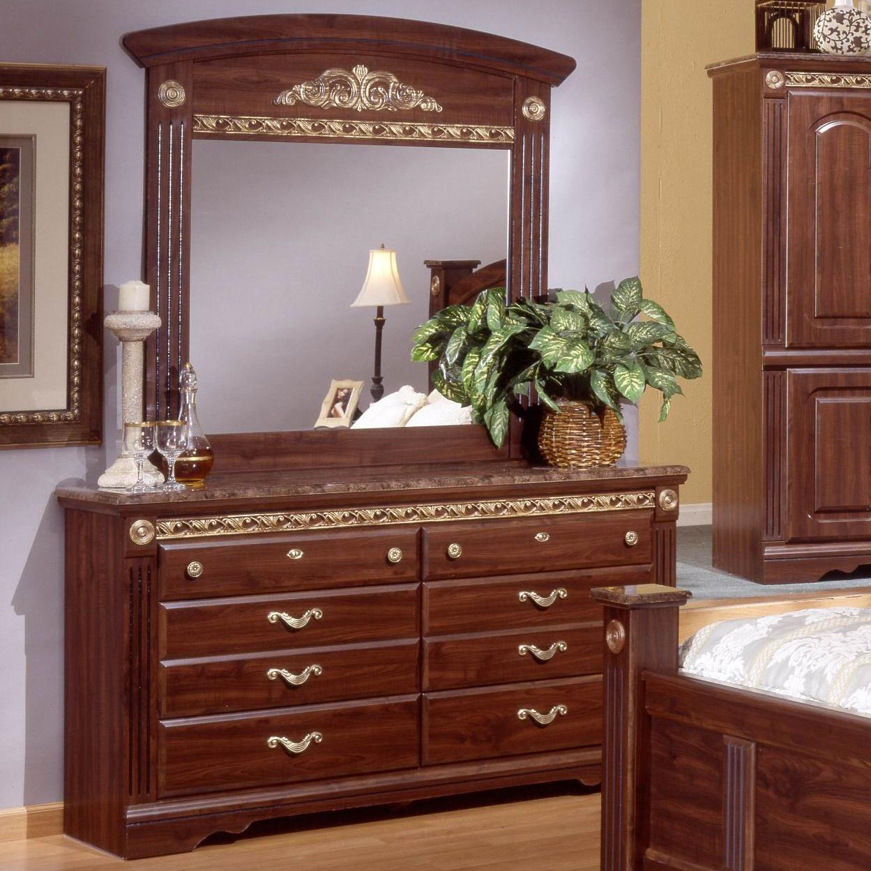 Sandberg Furniture Renaissance Marble Dresser & Mirror Set - Item Number: 17406+10