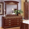 Sandberg Furniture Renaissance Marble Traditional 6 Drawer Dresser with Faux Marble Top - Shown with Mirror