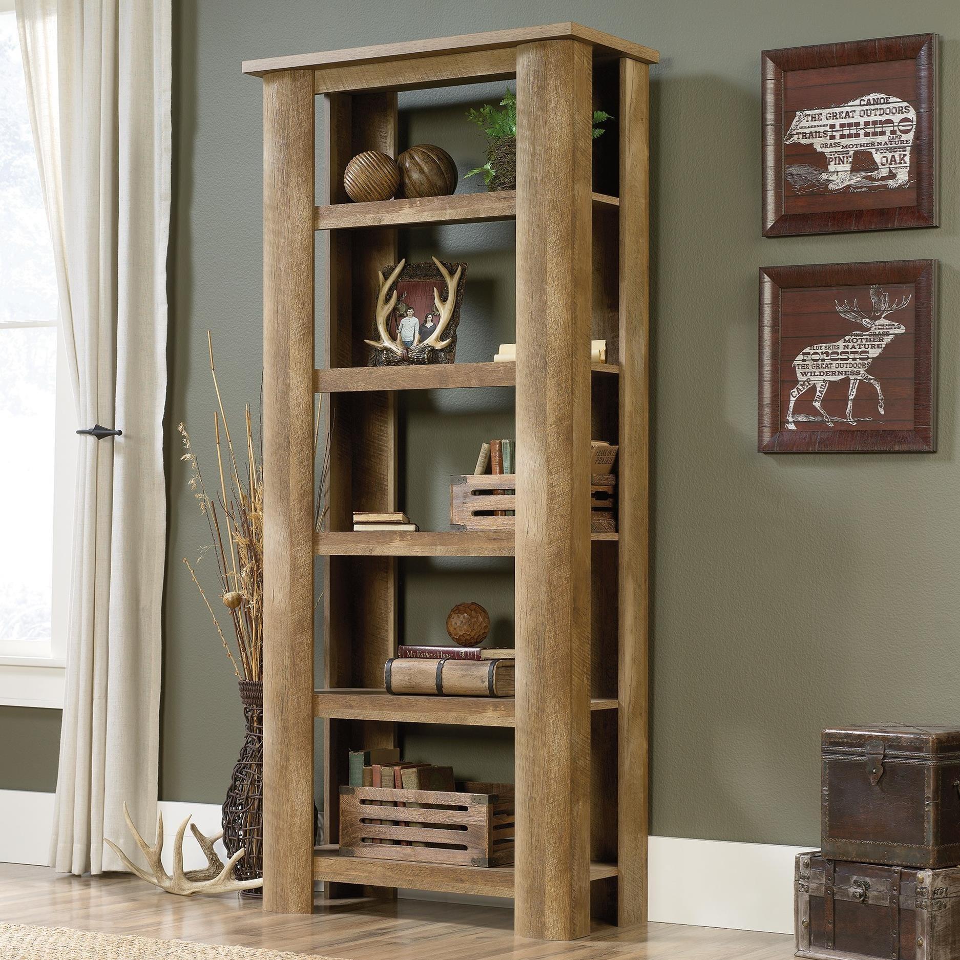 Sauder Boone Mountain 419864 Rustic Style 5 Shelf Bookcase Becker