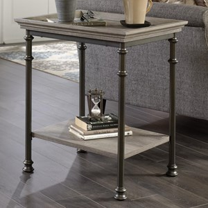 Side Table with Metal Frame and Tray Edge Table Top
