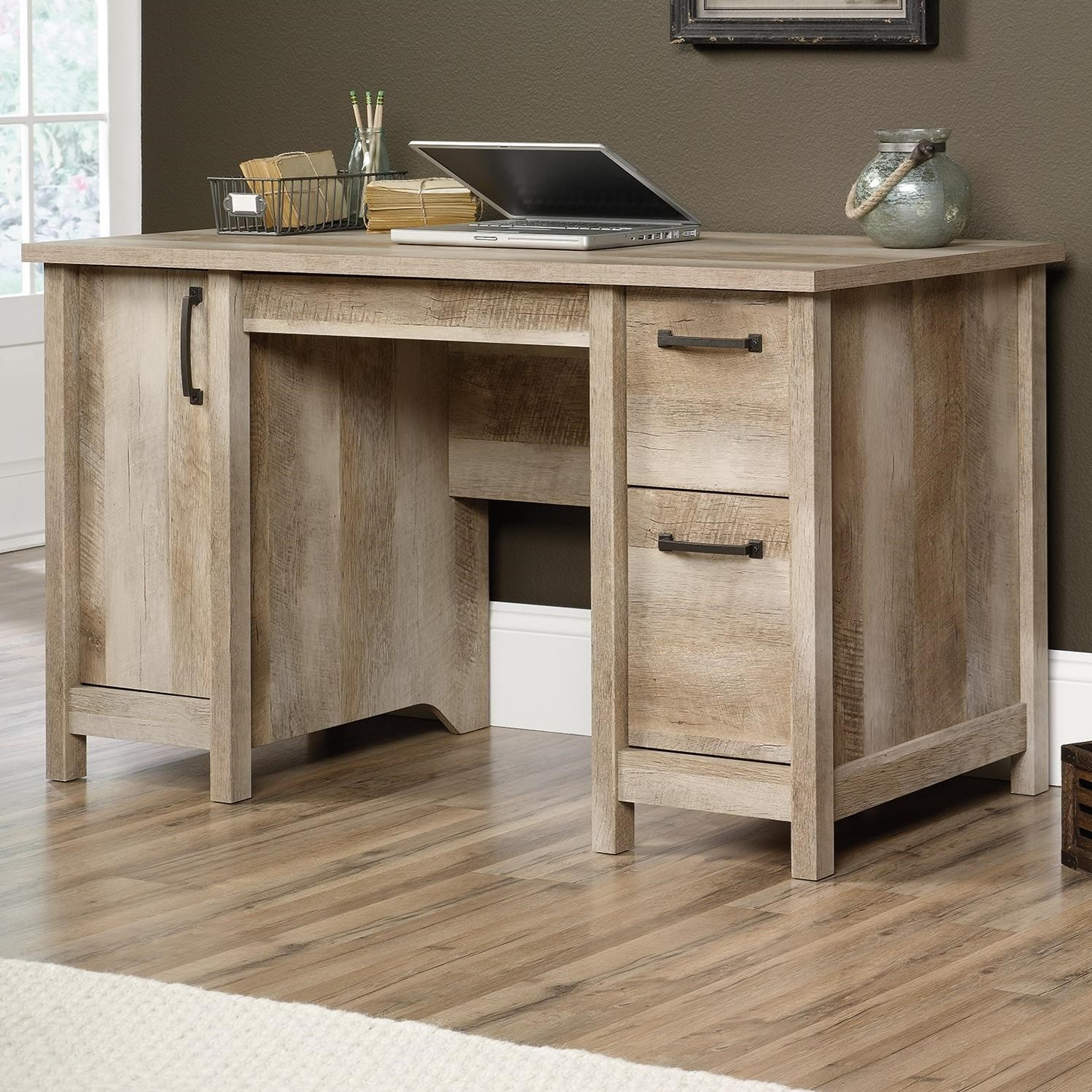 Sauder Cannery Bridge Rustic Finish Computer Desk With Cpu Storage Darvin Furniture Double
