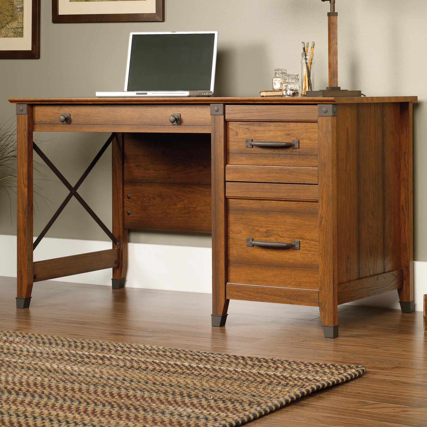 Sauder Carson Forge Single Pedestal Desk With Industrial