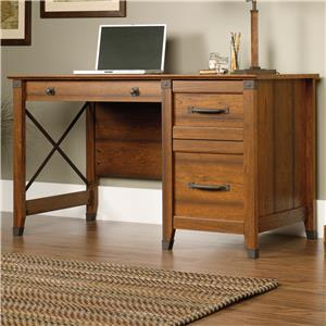 Single Pedestal Desk with Industrial Accents