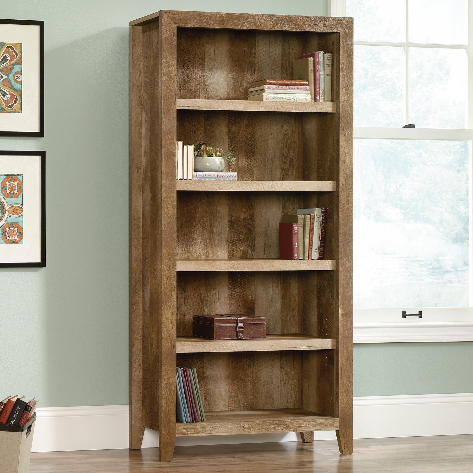 sauder dakota pass 418546 rustic finish 5 shelf bookcase