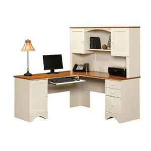 Sauder Harbor View Corner Computer Desk and Hutch