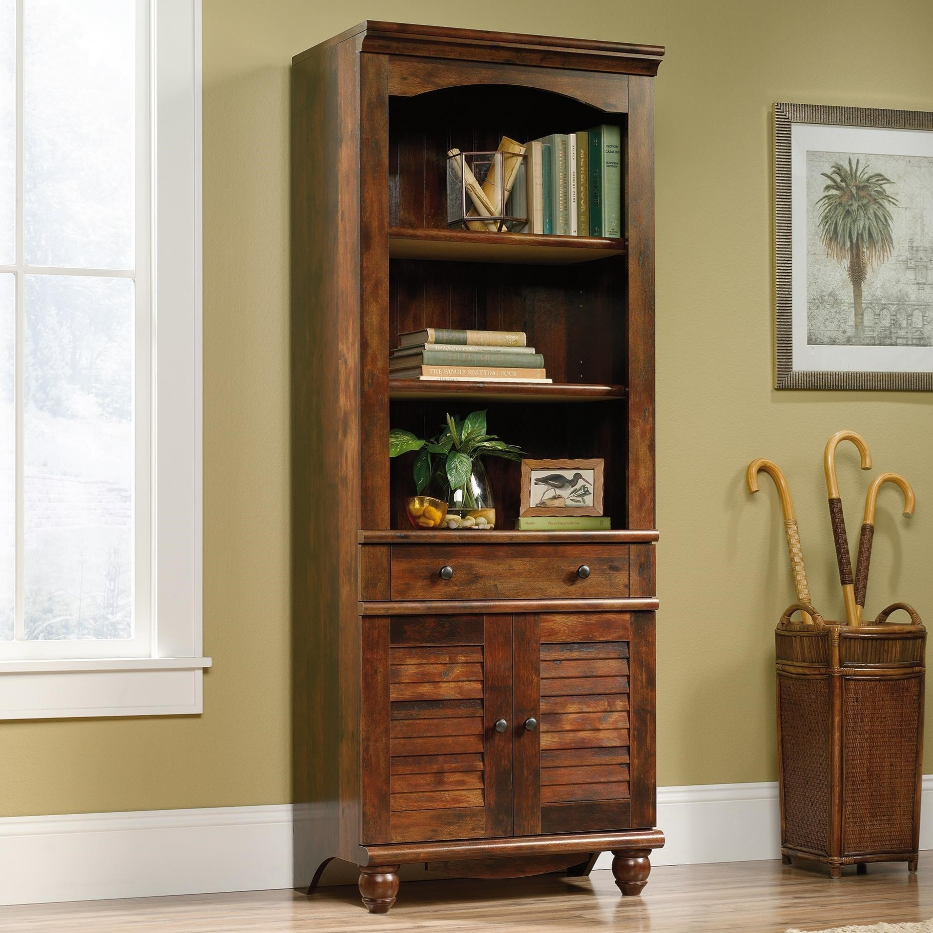 Sauder Harbor View Antique Finished 2 Shelf 2 Door Library Darvin Furniture Bookcase 2 Pc