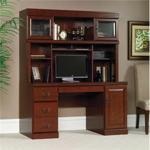 Traditional Classic Cherry Computer Credenza with Hutch