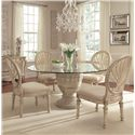 Schnadig Empire II 5-Piece Round Pedestal Glass Top Table and Oval Back Chair Dining Set - 3062-930+4x153