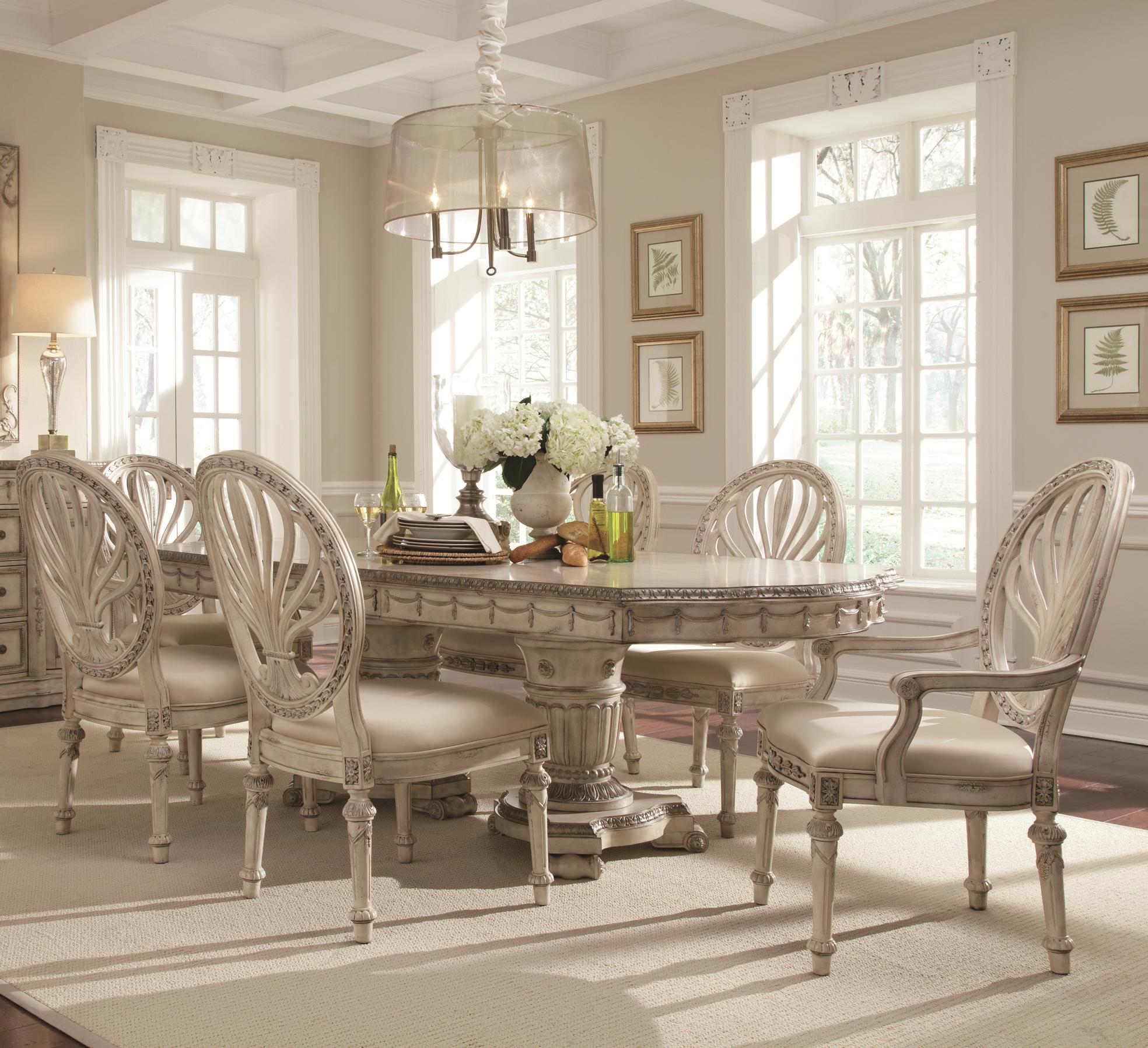 Schnadig 7 Piece Double Pedestal Two Leaf Table And Oval Back Chair Dining  Set