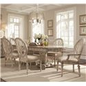 Schnadig Empire II 7-Piece Double Pedestal Two-Leaf Table and Oval Back Chair Dining Set - 3062-936+2x152+4x153