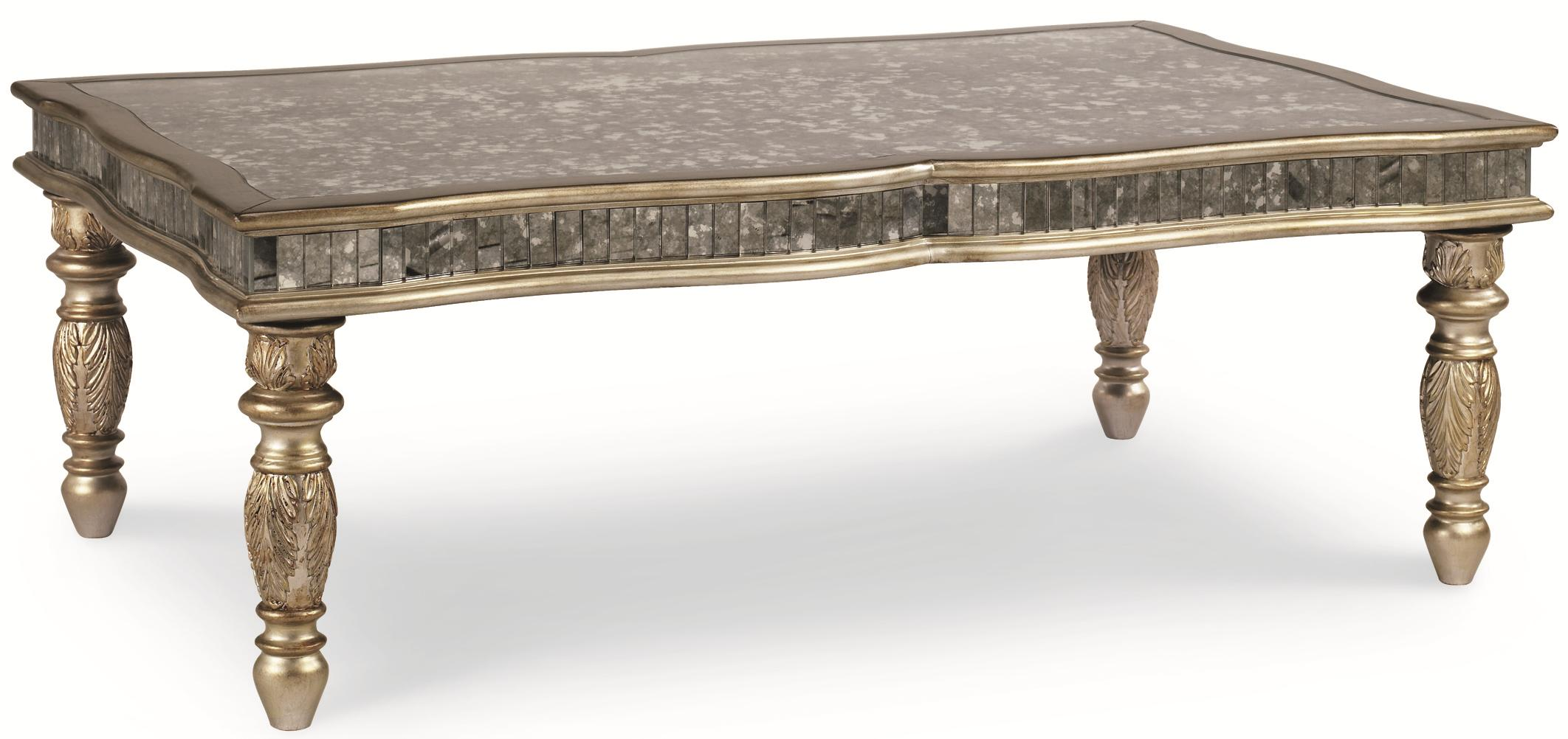 Schnadig Florence Transitional Cocktail Table With Metallic Finish