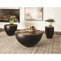 Coaster 70553 End Table with Black Iron Drum Base