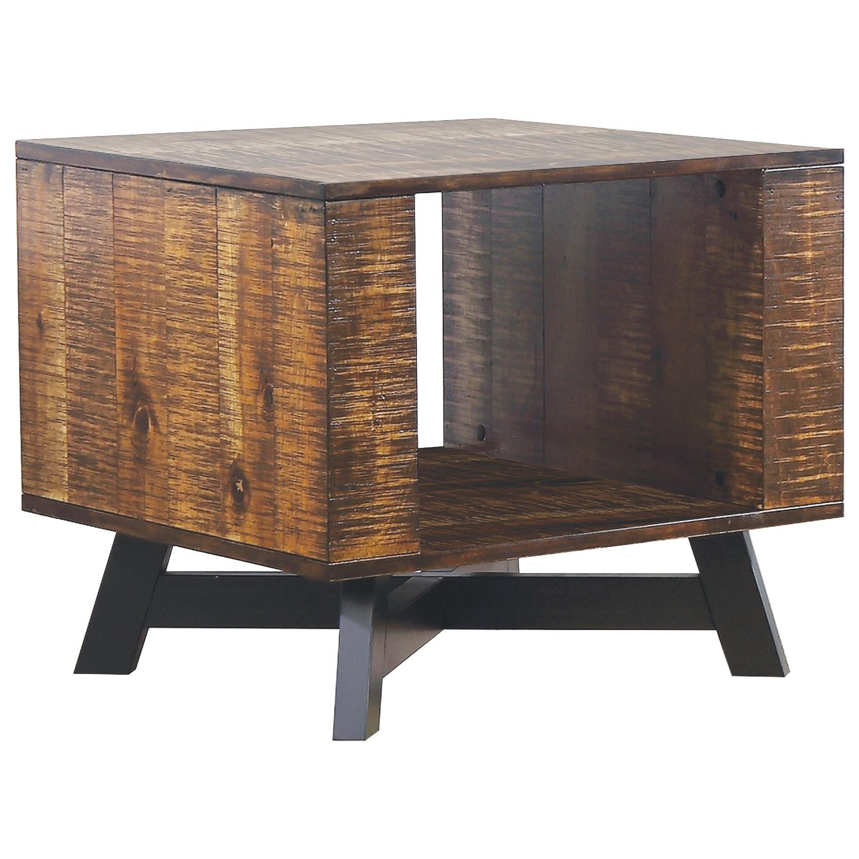 Scott Living 70563 Rustic End Table With Metal X Base Belfort