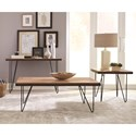 Scott Living 70566 Live Edge Coffee Table with Hairpin Legs